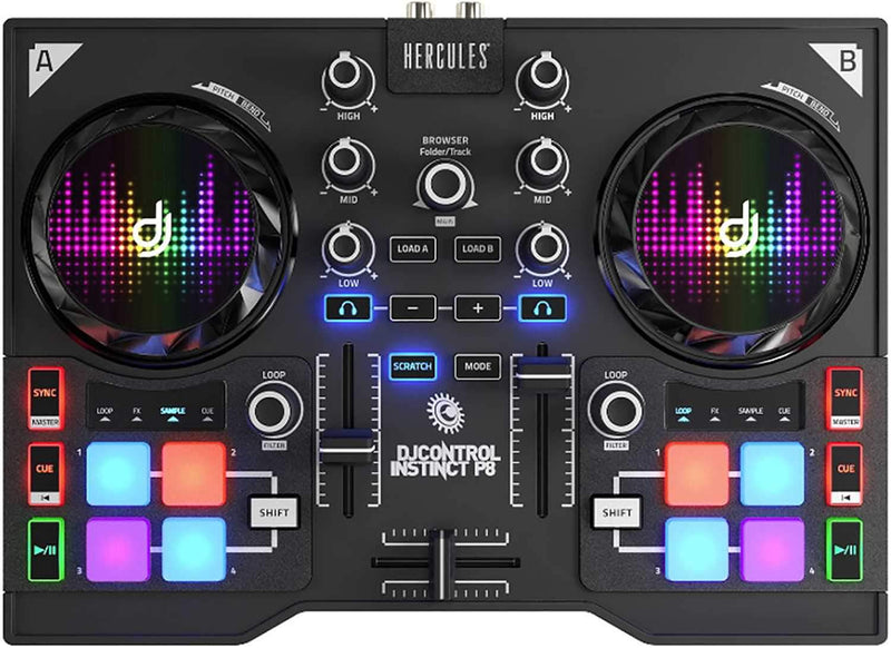Hercules DJ Control Instinct P8 Compact Controller - PSSL ProSound and Stage Lighting
