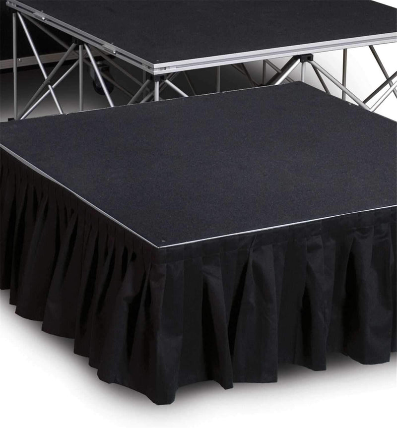 IntelliStage ISSK8X16 8 Ft x 16-Inch Black Stage Skirt - PSSL ProSound and Stage Lighting