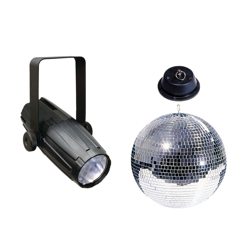 ADJ American DJ 12-Inch Mirror Ball Pack with Motor & LED Pinspot - PSSL ProSound and Stage Lighting