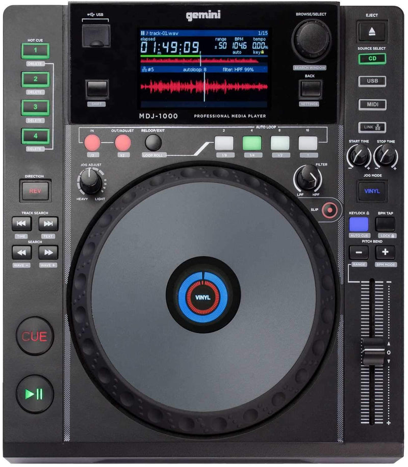 Gemini MDJ-1000 Tabletop DJ Media Player - PSSL ProSound and Stage Lighting