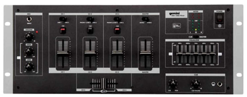 Gemini MM-1000 19-Inch DJ Mixer with 5-Band EQ - PSSL ProSound and Stage Lighting