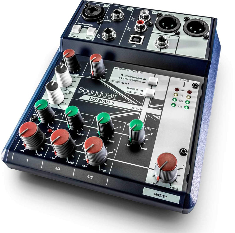 Soundcraft Notepad-5 5-Channel Desktop Mixer with USB - PSSL ProSound and Stage Lighting