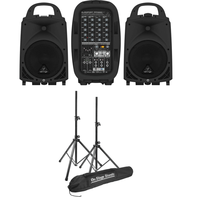 Behringer Europort PPA500BT Portable PA System with Stands - PSSL ProSound and Stage Lighting