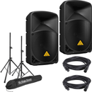 Behringer B112D 12-Inch Powered Speakers with Stands & Cables