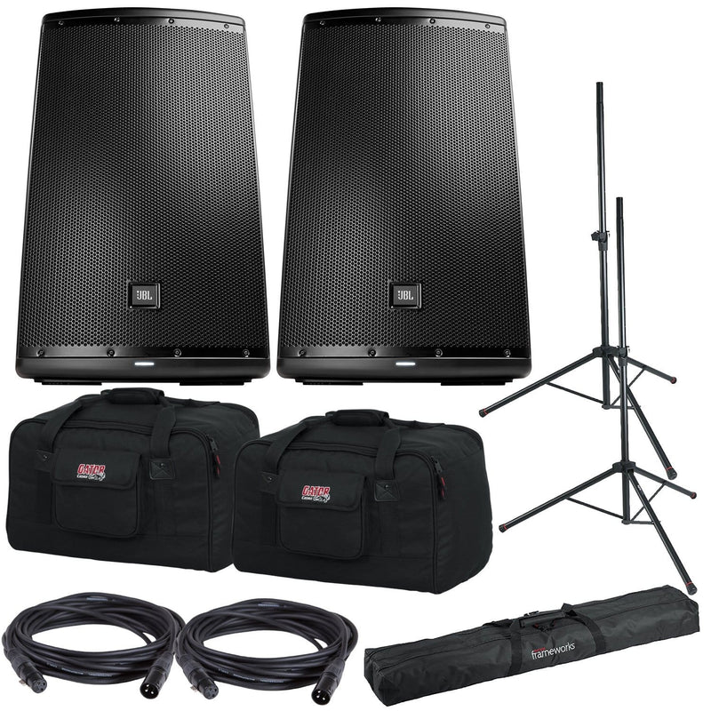JBL EON615 Powered Speakers Bundle with Gator Stands & Tote Bags - PSSL ProSound and Stage Lighting