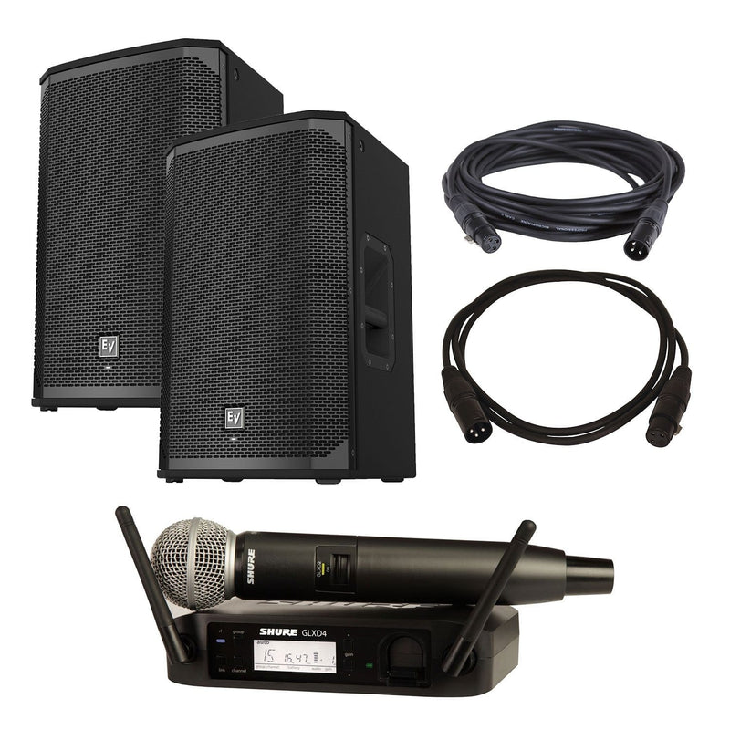 Electro-Voice EKX-12P Speakers (2) with Shure GLXD24-SM58 - PSSL ProSound and Stage Lighting