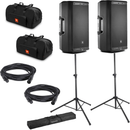 JBL Pro EON612 12-Inch Powered Speakers with Totes & Gator Stands