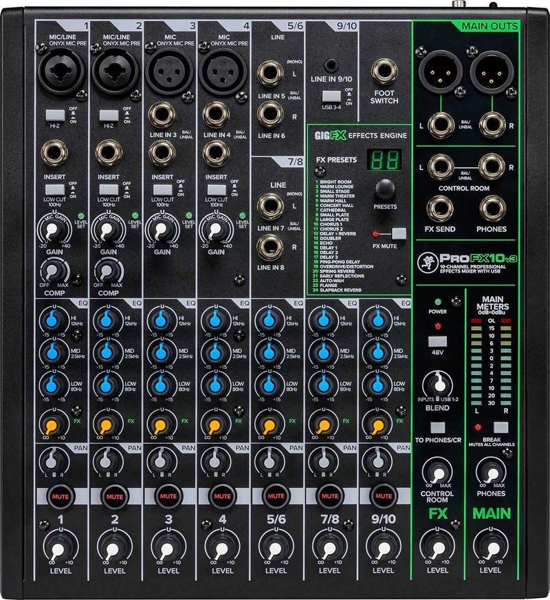 Mackie ProFX10v3 10-Channel Effects Mixer with USB - PSSL ProSound and Stage Lighting