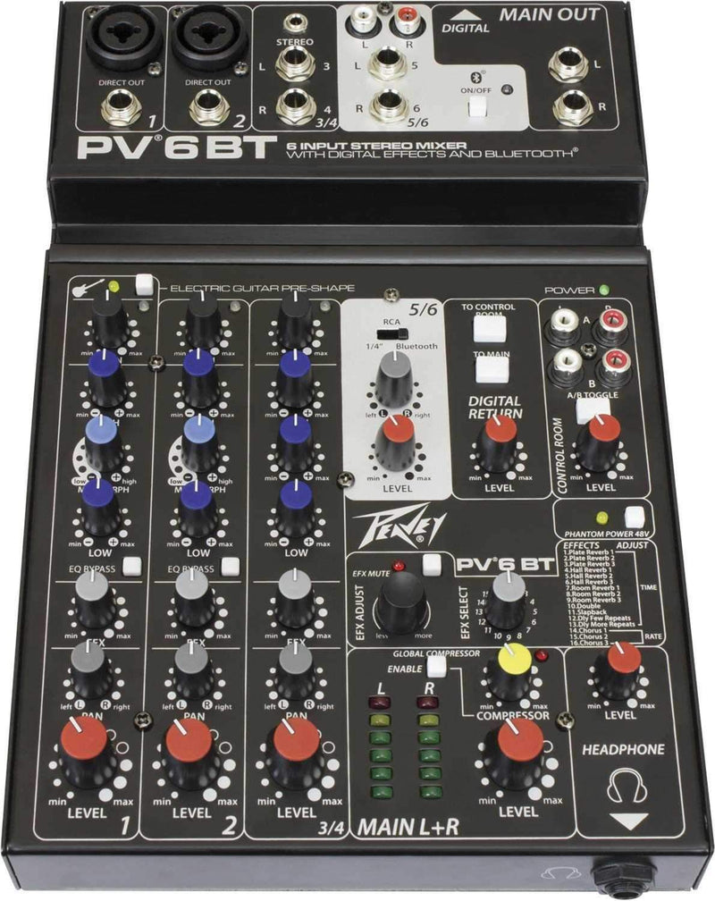 Peavey PV 6 BT 4-Channel Mixer with Bluetooth - PSSL ProSound and Stage Lighting