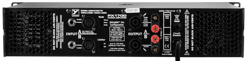 Yorkville PX1700 Power Amplifier - PSSL ProSound and Stage Lighting