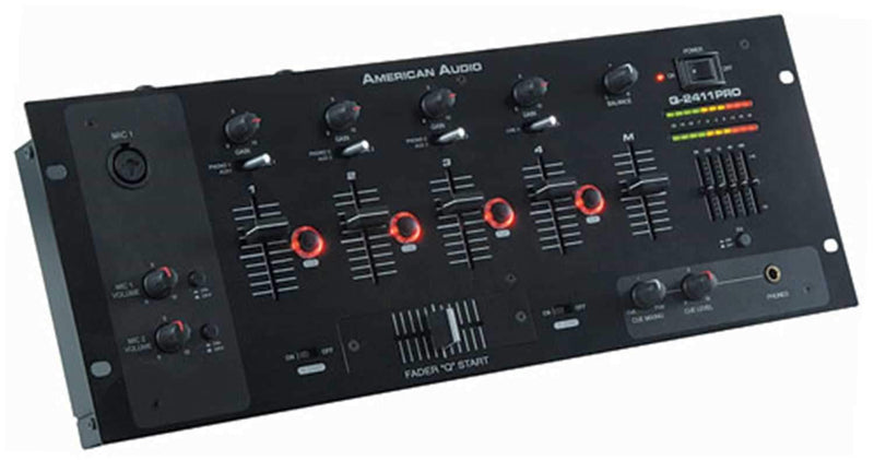 American Audio Q-2411 Pro 4 Channel 19 In DJ Mixer - PSSL ProSound and Stage Lighting