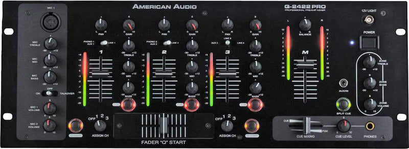 American Audio Q-2422 Pro 19 in 3 Ch Rack DJ Mixer - PSSL ProSound and Stage Lighting