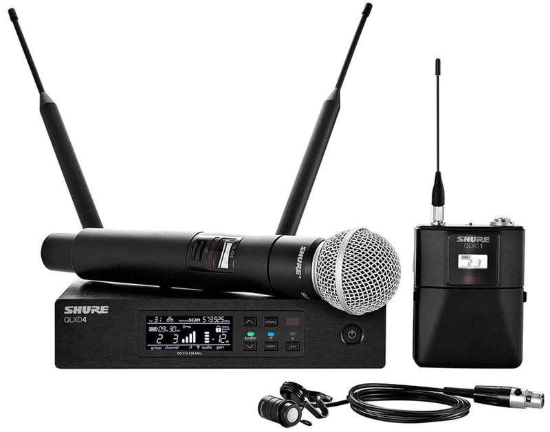 Shure QLXD Dual Wireless Mic WL185 Lav & SM58 H50 - PSSL ProSound and Stage Lighting