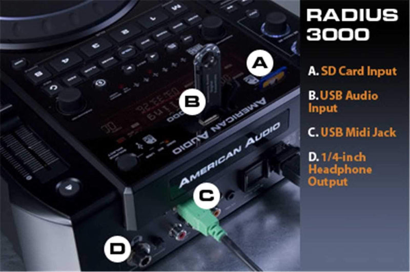 American DJ Radius 3000 CD/MP3/SD/SDHC/ USB Player - PSSL ProSound and Stage Lighting