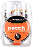 Accu-Cable RC412 12Ft Dual Rca To Dual 1/4 Cable - PSSL ProSound and Stage Lighting