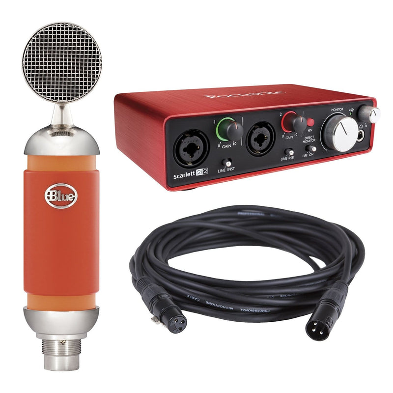 Focusrite Scarlett 2i2 Audio Interface with Blue Spark Condenser Mic - PSSL ProSound and Stage Lighting