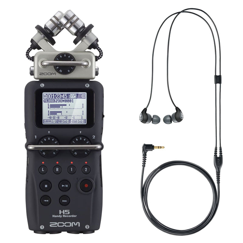 Zoom H5 Recorder with Shure SE112-GR Earphones - PSSL ProSound and Stage Lighting