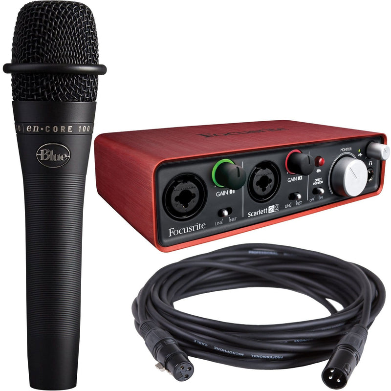 Focusrite Scarlett 2i2 USB Audio Interface with Blue enCore 100i Mic - PSSL ProSound and Stage Lighting