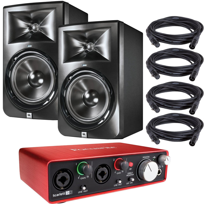JBL LSR308 Studio Monitors with Focusrite Scarlett 2i2 USB Audio Interface - PSSL ProSound and Stage Lighting