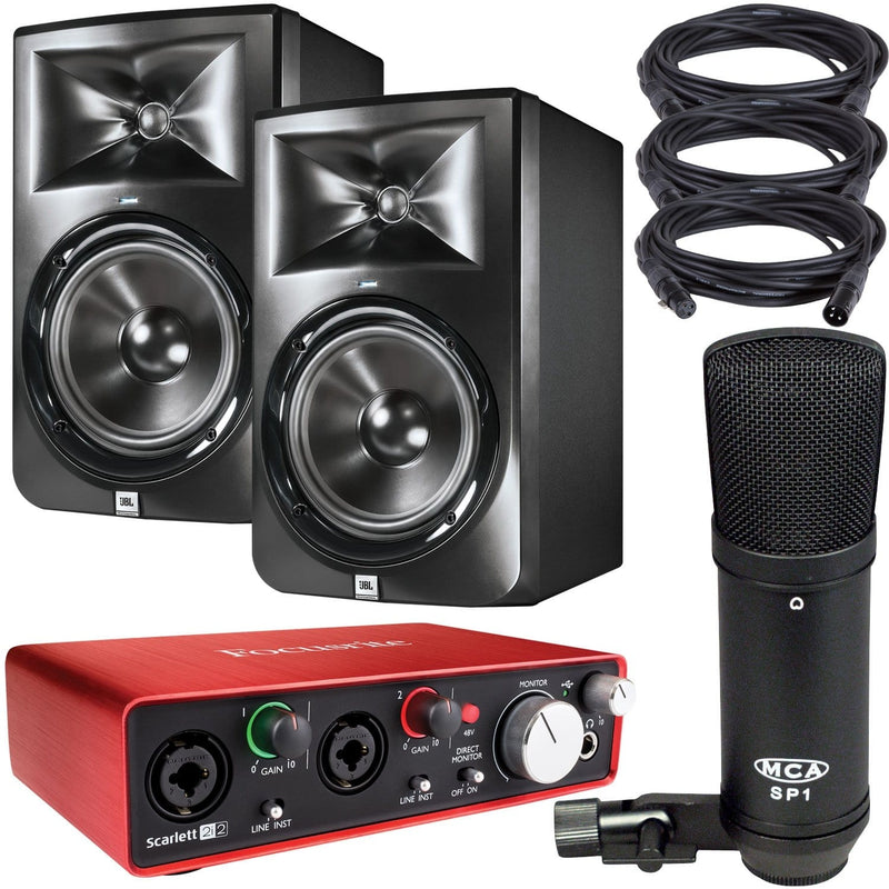 JBL LSR308 Monitors with Focusrite Scarlett 2i2 Audio Interface & SP-1 Mic - PSSL ProSound and Stage Lighting