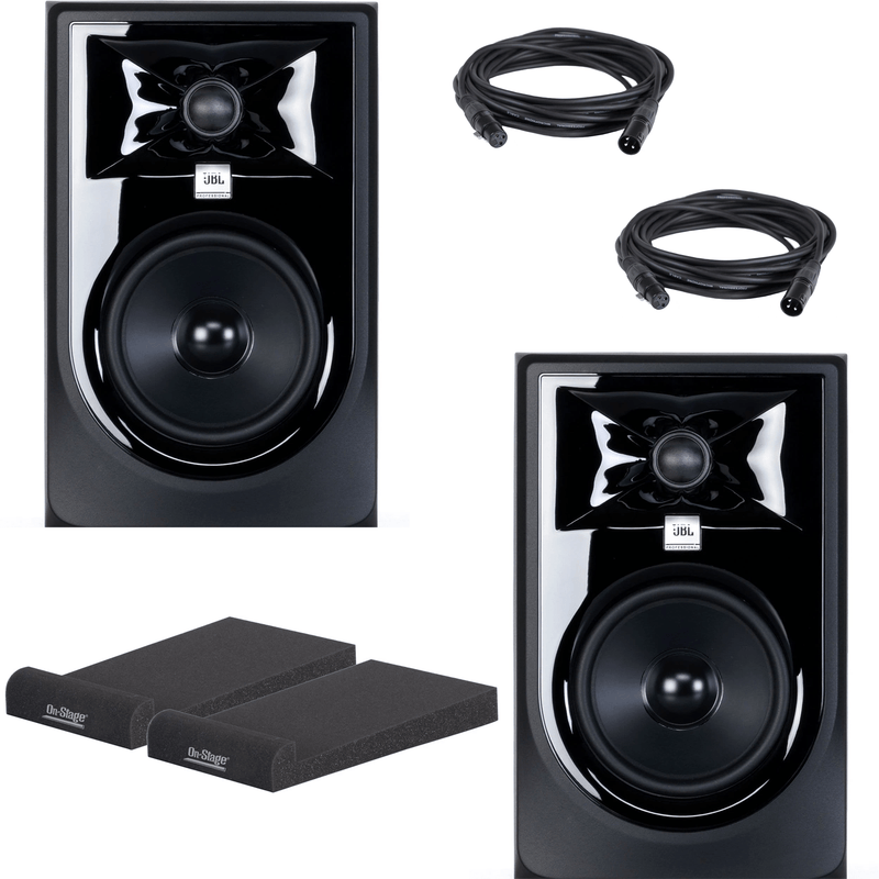 JBL 305P MKII Studio Monitor Pair with Isolation Pads & XLR Cables - PSSL ProSound and Stage Lighting
