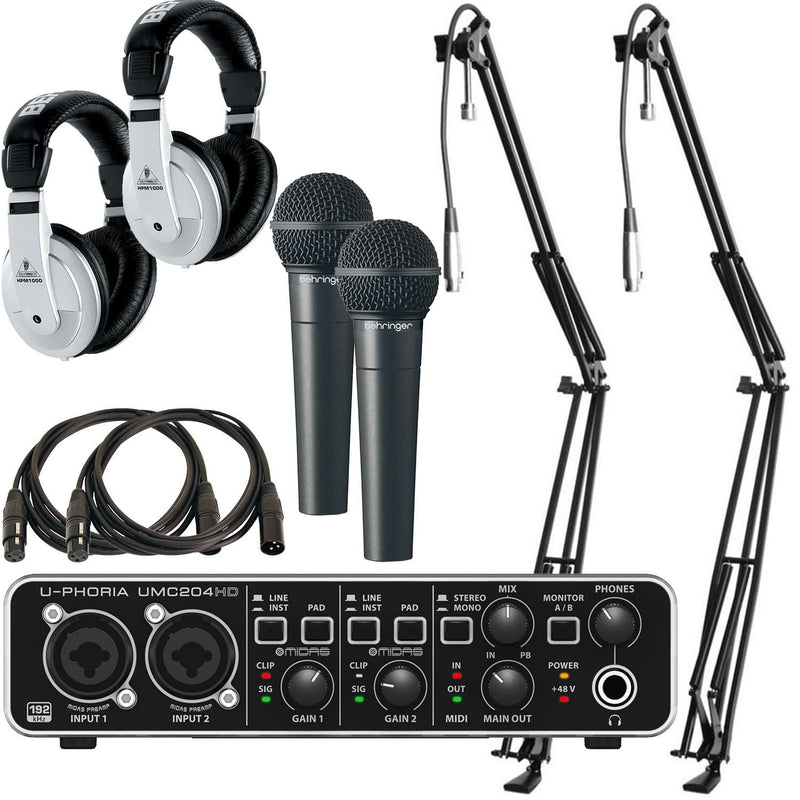 Behringer UMC204HD Podcast Bundle with Headphones - PSSL ProSound and Stage Lighting