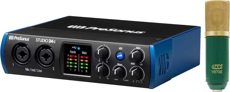 PreSonus Studio 24C 2X2 Interface with Recording Mic - PSSL ProSound and Stage Lighting