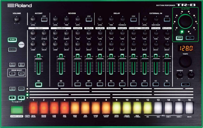 Roland AIRA TR-8 Rhythm Performer Drum Machine wtih Decksaver Cover - PSSL ProSound and Stage Lighting