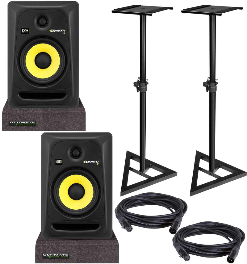 KRK RP6 G3 Powered Studio Monitors with Stands & Isolation Pads - PSSL ProSound and Stage Lighting