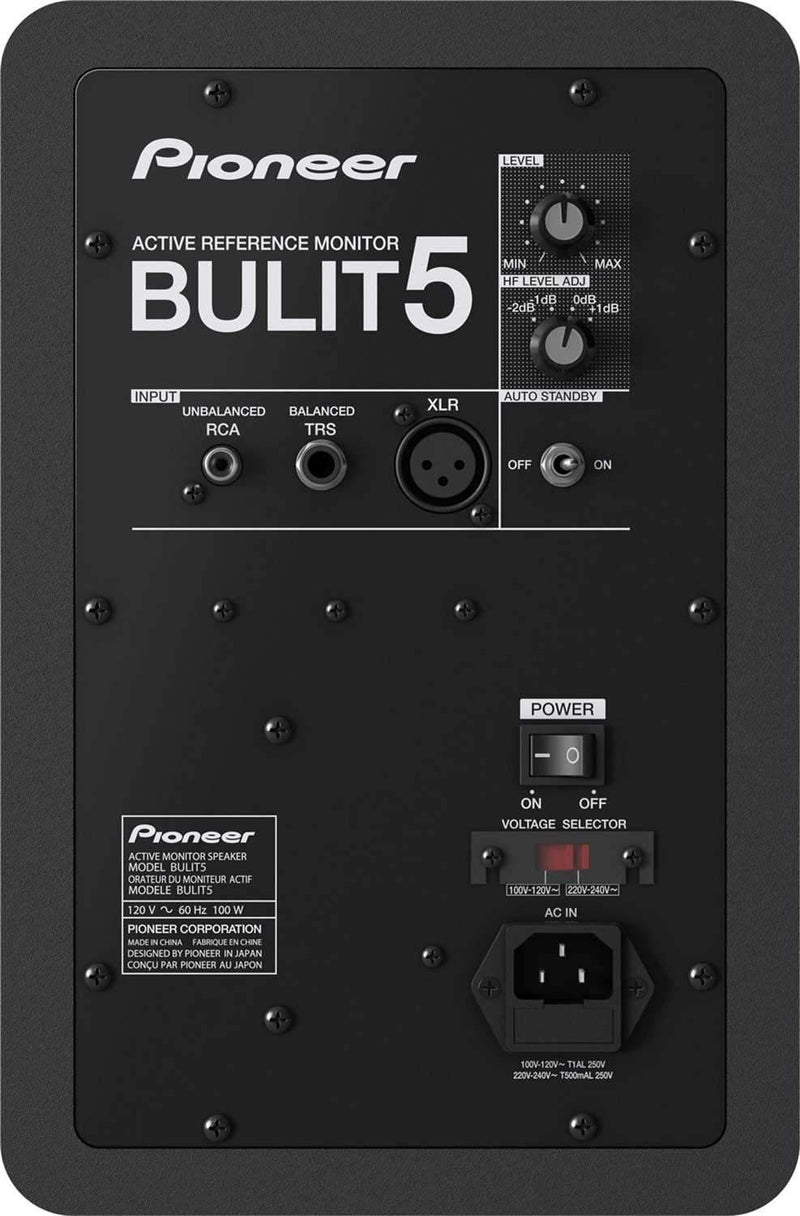 Pioneer BULIT5 Powered Studio Monitors with Stands & Isolation Pads - PSSL ProSound and Stage Lighting