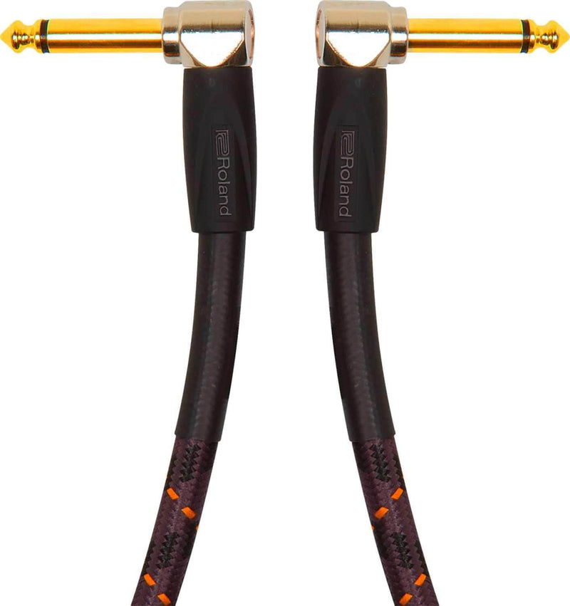 Roland RIC-G1AA 1ft Gold Series 1/4 inch Angled Instrument Cable - PSSL ProSound and Stage Lighting