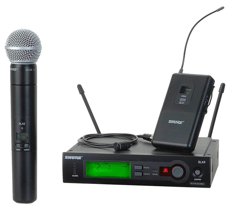 Shure SLX Dual Wireless Mic with WL185 & SM58 H5 - PSSL ProSound and Stage Lighting