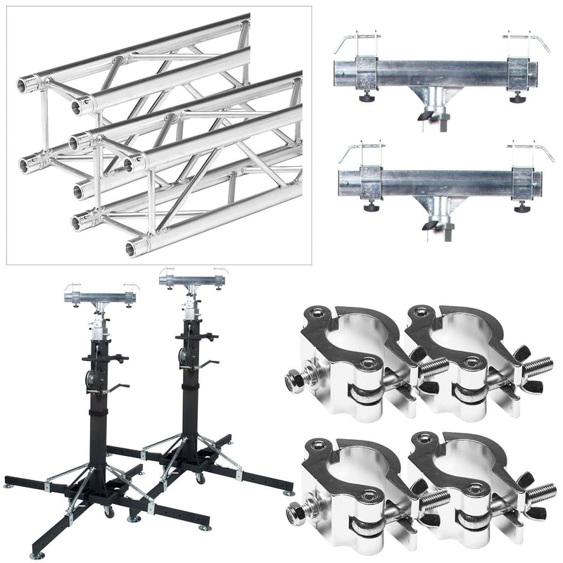 Global Truss ST-180 Crank Stands with 10 Feet of F34 Truss and Clamps - PSSL ProSound and Stage Lighting