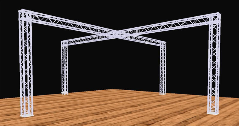 Global Truss 20 Ft x 20 Ft Complete Booth Display Cross Truss Structure - PSSL ProSound and Stage Lighting