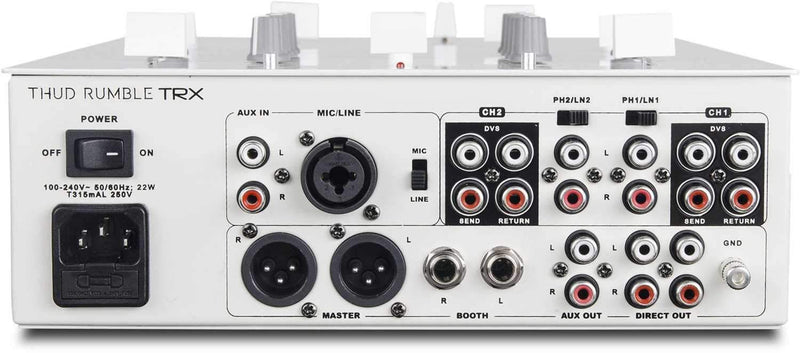 DJ Tech TRX Thud Rumble White DJ Mixer with Innofader - PSSL ProSound and Stage Lighting