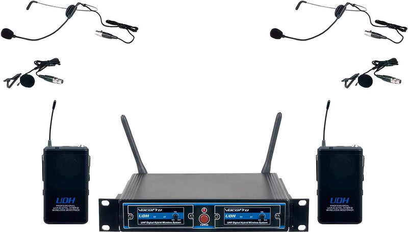 VocoPro UDH-DUAL-B4 Hybrid Wireless Headset/Lapel Microphone System - PSSL ProSound and Stage Lighting