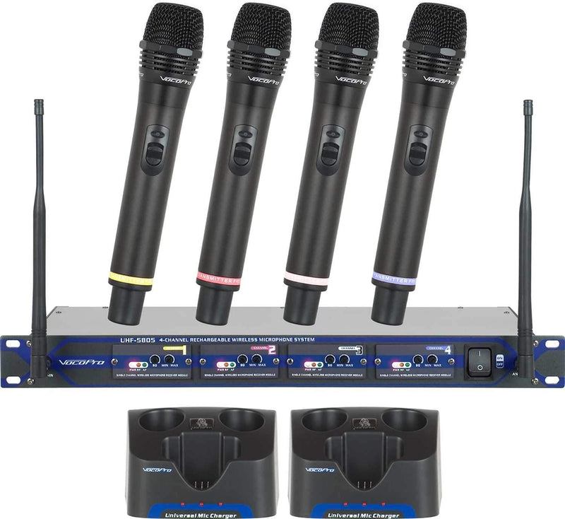 VocoPro UHF-5805-9 4 Channel UHF Wireless Mic System Set 9 - PSSL ProSound and Stage Lighting