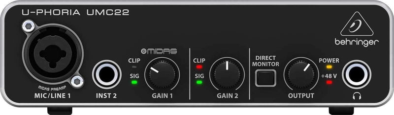 Behringer UMC22 2x2 28K USB 2 Audio MIDI Interface - PSSL ProSound and Stage Lighting