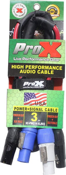 ProX XC-PWC14-XLR03 3-Foot Jumper Powercon + XLR Cable - PSSL ProSound and Stage Lighting