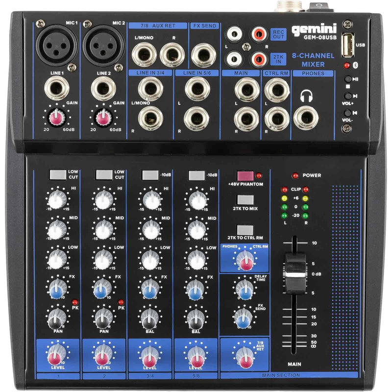 Gemini GEM-08USB 8-Channel USB Mixer w/ Bluetooth - PSSL ProSound and Stage Lighting