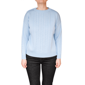 Open Back blau Pullover  mit Zopfmuster