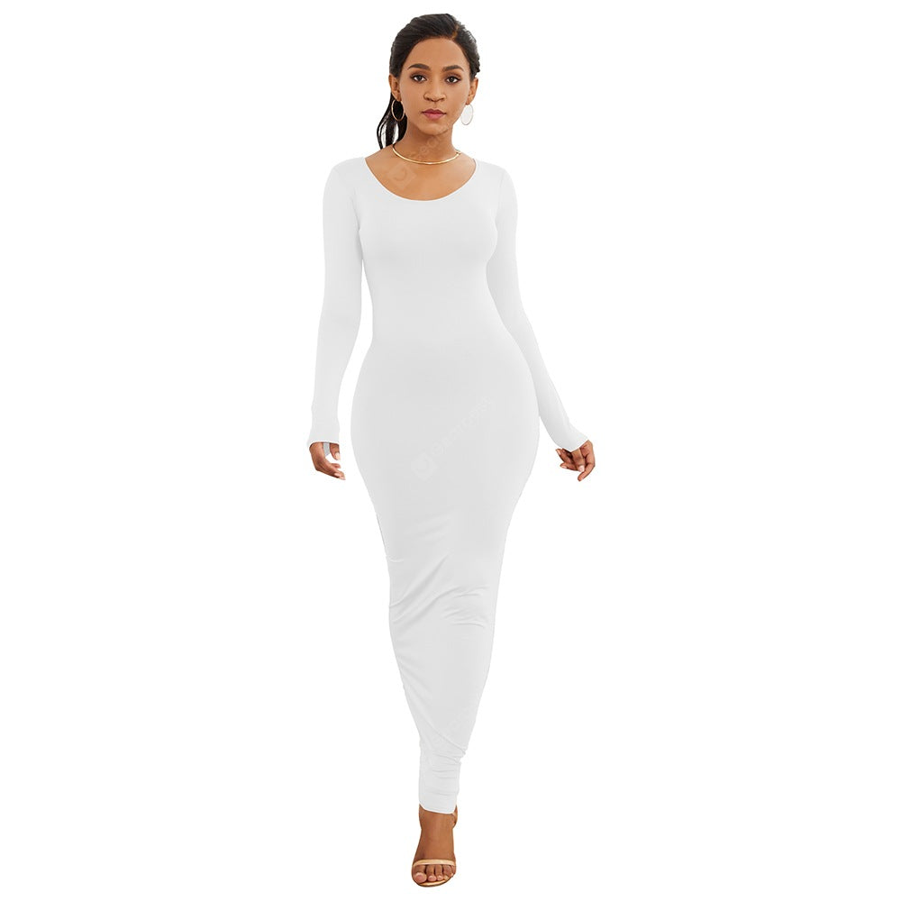 crew-neck long sleeve white  bodycon dress