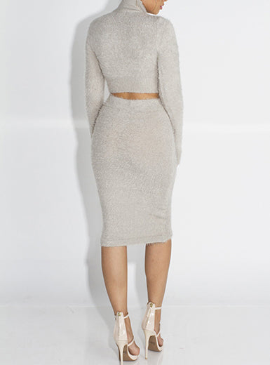 two piece turtleneck crop top, skirt set