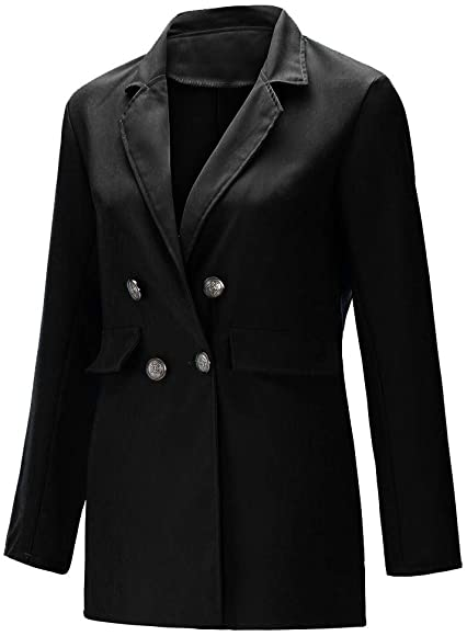 Black double-breasted slim blazer