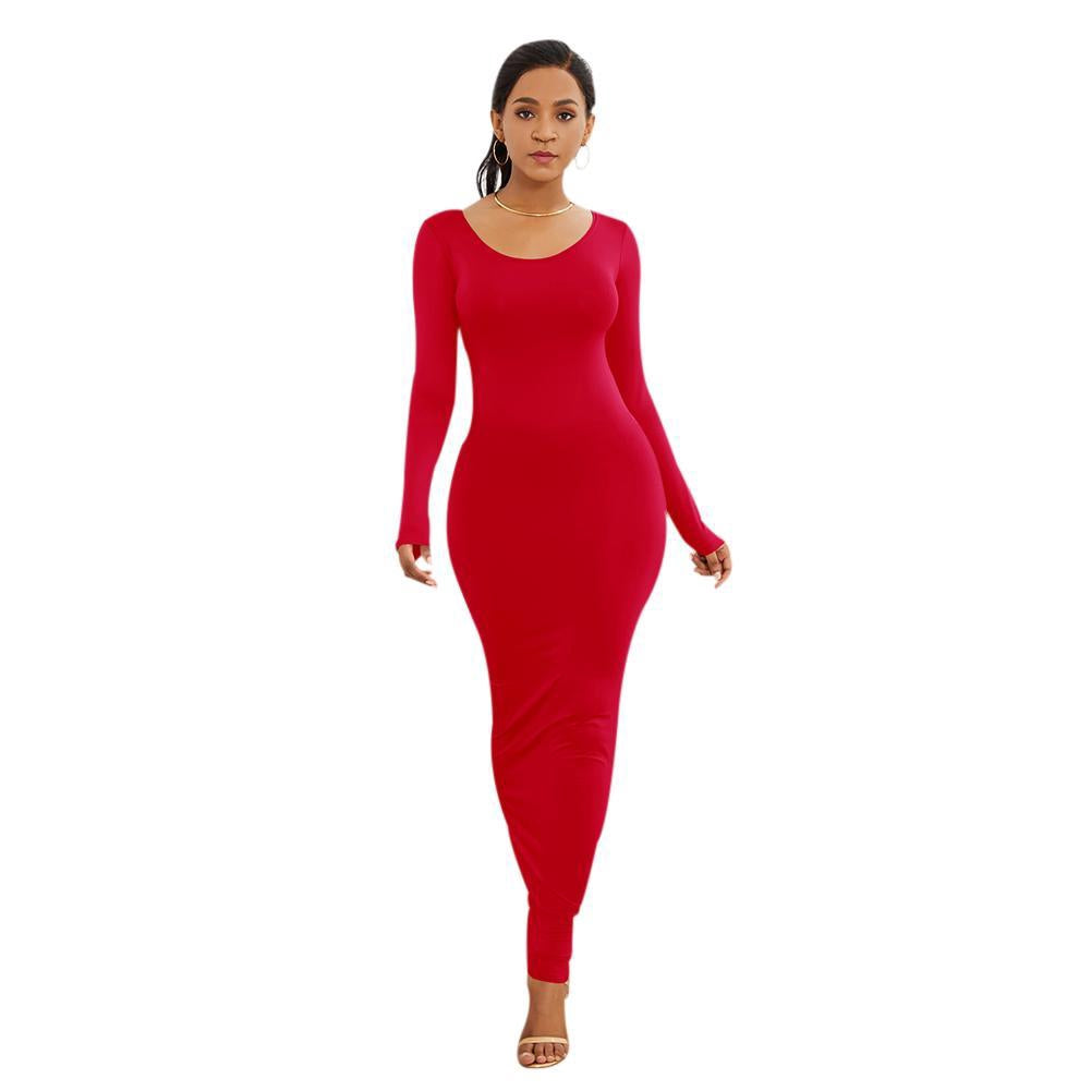 crew-neck long sleeve red ankle length bodycon dress