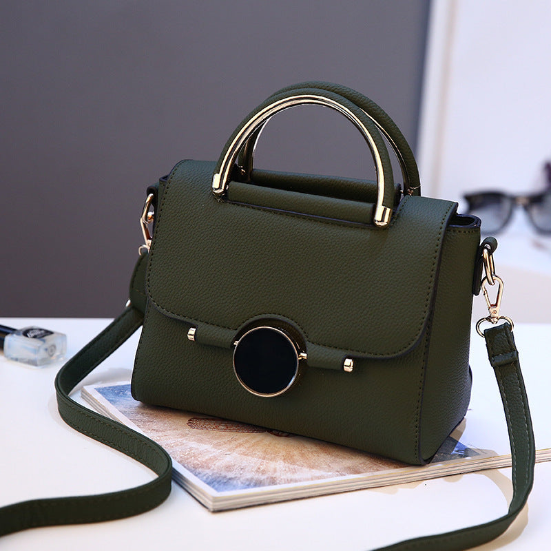 Green top handle handbag