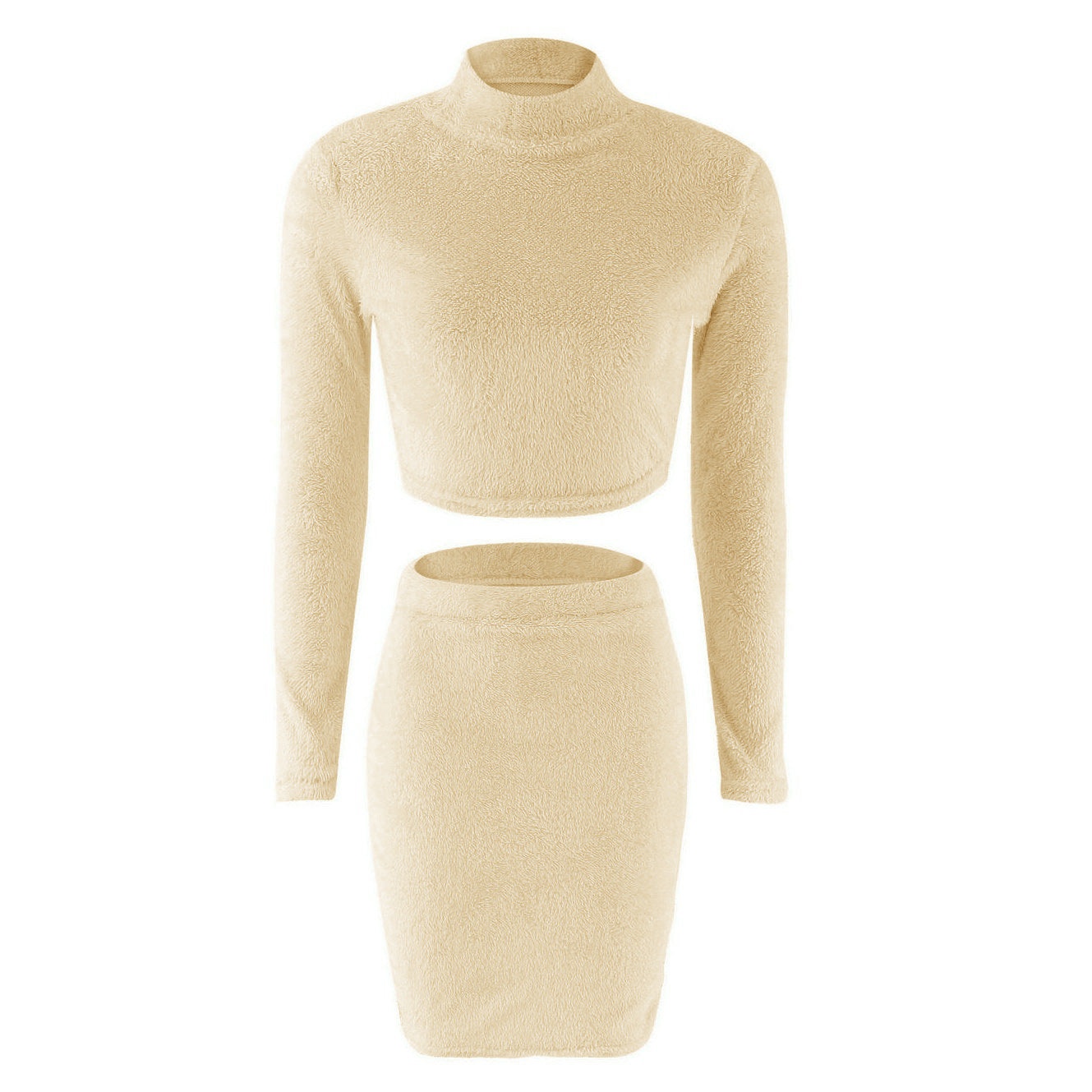 beige two piece turtleneck crop top, skirt set