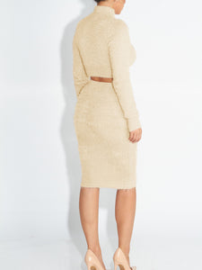 woman wearing a beige two piece matching set