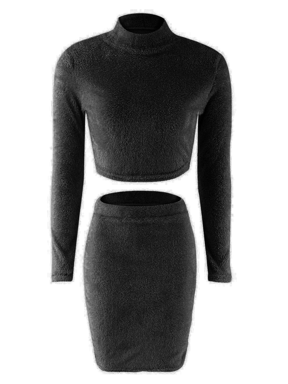 black two piece turtleneck crop top, skirt set
