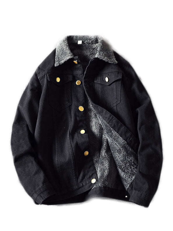 BLACK FUR DENIM JACKET